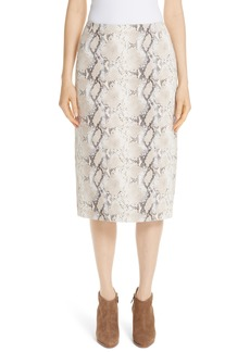 Lafayette 148 New York Casey Diamondback Print Suede Skirt
