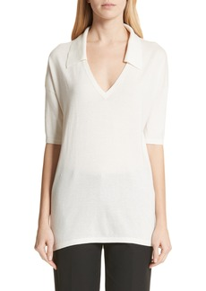 Lafayette 148 New York Cashmere & Silk Blend Polo