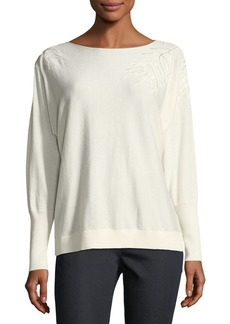 Lafayette 148 Cashmere-Blend Leaf-Embroidered Sweater