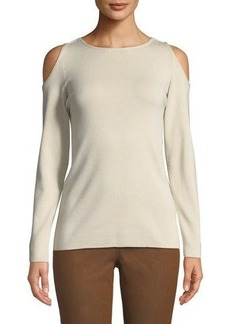 Lafayette 148 New York Cashmere Cold-Shoulder Sweater