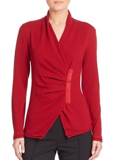 Lafayette 148 New York Cashmere Gathered Asymmetrical Sweater