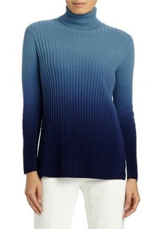 Lafayette 148 New York Cashmere Ombré Ribbed Turtleneck Sweater