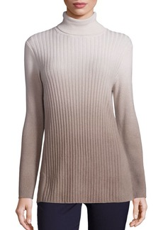 Lafayette 148 New York Cashmere Ombre Rib-Knit Turtleneck Sweater