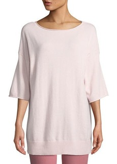 Lafayette 148 New York Cashmere Relaxed Short-Sleeve Pullover  Plus Size