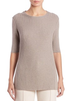 Lafayette 148 New York Cashmere Ribbed-Panel Sweater