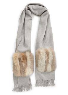 Lafayette 148 New York Cashmere Shawl with Genuine Fox Fur Pockets