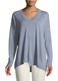 Lafayette 148 New York Cashmere-Silk Blend Asymmetric Sweater