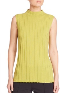Lafayette 148 New York Cashmere Sleeveless Rib-Knit Mockneck Top