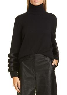 Lafayette 148 New York Cashmere Turtleneck Sweater with Genuine Mink Fur Trim