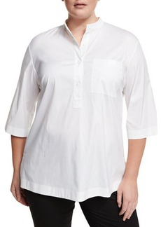 Lafayette 148 New York Plus Cecilia Button-Placket 3/4 Sleeve Poplin Shirt