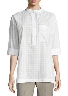 Lafayette 148 New York Cecilia Patterned Button Blouse