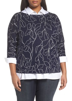 Lafayette 148 New York Chain Detail Floral Jacquard Sweater (Plus Size)