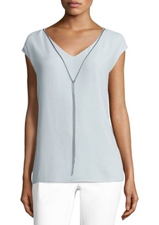 Lafayette 148 New York Chain Detail Silk & Cotton Top