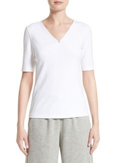 Lafayette 148 New York Chain Detail Stretch Cotton Top