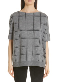 Lafayette 148 New York Chain Embellished Oversize Jacquard Sweater