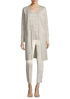 Lafayette 148 New York Chain Trim Linen Cardigan