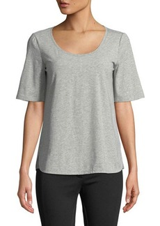 Lafayette 148 New York Chain-Trim Scoop-Neck Melange Jersey Top