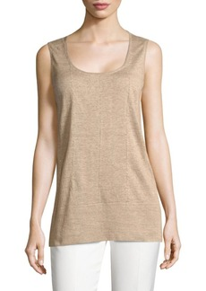 Lafayette 148 New York Chain-Trim Scoopneck Linen Tank Top