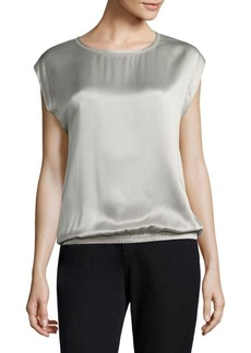Lafayette 148 New York Chain-Trim Silk & Linen Top