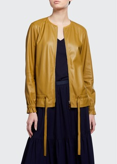 Lafayette 148 New York Chapman Supple Napa Zip-Front Leather Jacket