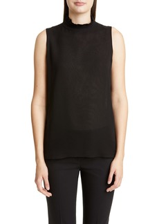 Lafayette 148 New York Charlene Ruffle Neck Silk Blouse