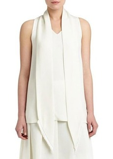 Lafayette 148 New York Charlie Silk Blouse w/ Fringed Necktie