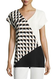 Lafayette 148 New York Charlize Short-Sleeve Divided Dots Combo Blouse