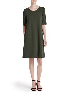 Lafayette 148 New York Charmeuse Trim Punto Milano Dress