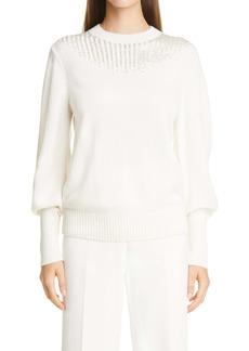 Lafayette 148 New York Chevron Beaded Cashmere Sweater