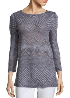 Lafayette 148 New York Chevron Jersey Top