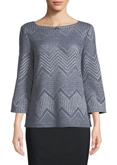 Lafayette 148 New York Chevron Stretch-Linen Blouse