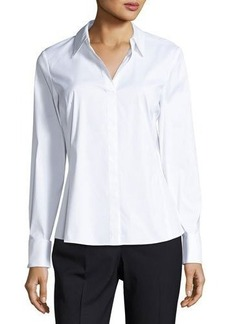Lafayette 148 New York Chiara Collared Poplin Top