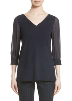 Lafayette 148 New York Chiffon Sleeve Punto Milano Top (Nordstrom Exclusive)