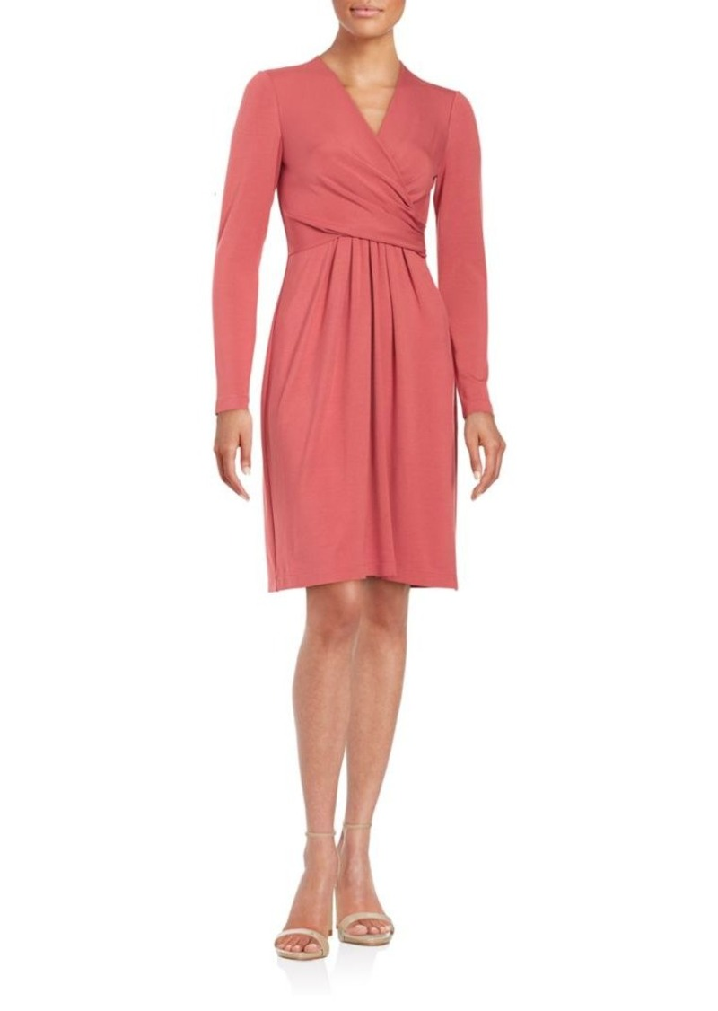 Lafayette 148 New York Cinched Long Sleeve Solid Dress