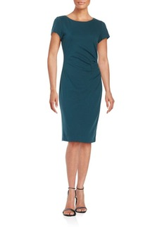 Lafayette 148 New York Cinched Short Sleeve Solid Sheath Dress