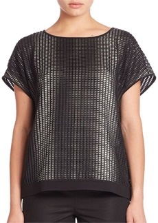 Lafayette 148 New York City Slicker Mesh Contessa Blouse