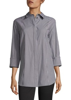 Lafayette 148 New York Claude Striped Button-Front Shirt