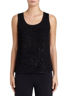Lafayette 148 New York Cleo Sleeveless Sequined-Front Suede Blouse