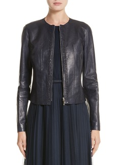 Lafayette 148 New York Clyde Lambskin Leather Jacket