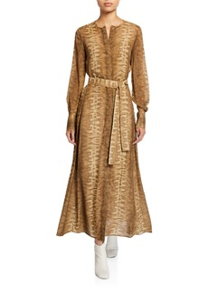 Lafayette 148 New York Coleen Belted Long-Sleeve Dress