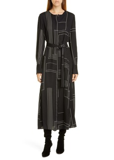 Lafayette 148 New York Coleen Linking Lines Print Long Sleeve Midi Dress