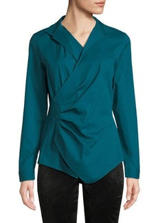 Lafayette 148 New York Collared Wrap Top