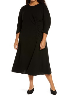 Lafayette 148 New York Collina Ruched Long Sleeve Midi Dress (Plus Size)