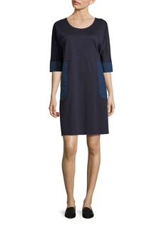 Lafayette 148 New York Colorblock Patch Pocket Shift Dress