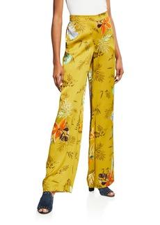 Lafayette 148 New York Columbus Bouquet-Print Wide-Leg Drape Cloth Pants