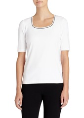 Lafayette 148 New York Contrast Detail Scoop Neck Tee