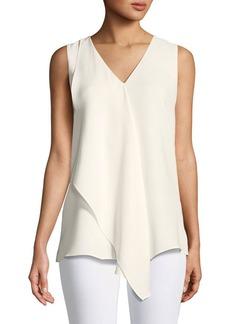 Lafayette 148 New York Cooper Drape-Front Silk Blouse