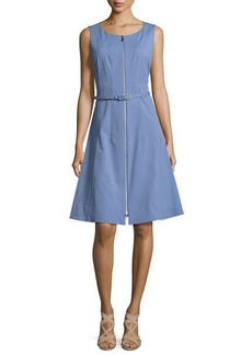 Lafayette 148 New York Coralie Belted Zip-Front Fit-&-Flare Dress