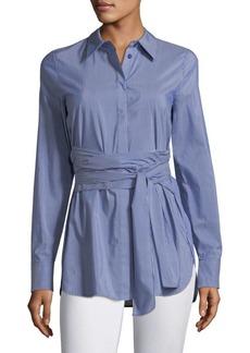 Lafayette 148 New York Cordelia Cotton Waist Tie Top