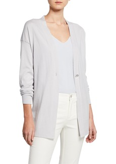 Lafayette 148 New York Cotton & Cashmere Long-Sleeve Single-Button Cardigan